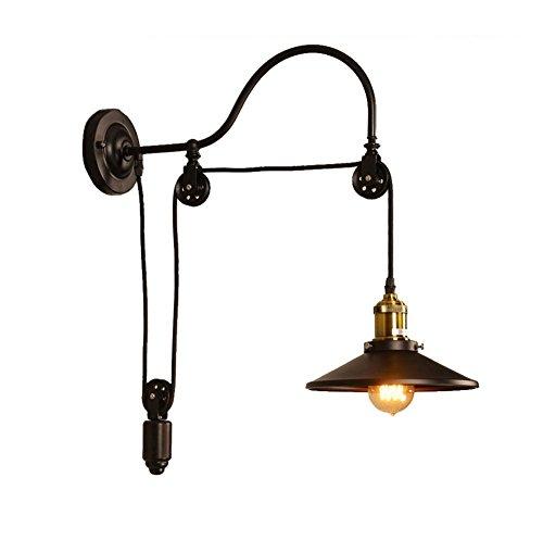 Lampe de mur de pays américain Retro Industriel vent Iron art allée bar Café chambre Européenne Lifting poulie lumières E27 * 1 ombre diamètre 27cm noir (Couleur : #1)