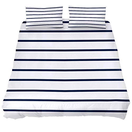 MUMIMI 3-Piece Microfiber Bedding Set (1 Cover 2 Pillowcase) with Zip: Duvet Cover Pillow Shams Bed Quilt Cover,Lightweight and Soft -Queen/King,Navy and White Striped Geometric Print - California King Quilt Navy