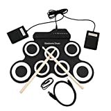 USB elektronische Trommel, Roll up Drum Kit Portable Compact Größe 7 Silicon Drum Pads mit 2 Fußpedale und Drum Sticks, für Kinder Anfänger Erwachsene