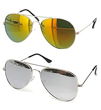 c41051767c3 ... Sunglasses  SHEOMY COMBO OF STYLISH SILVER FRAME SILVER MERCURY GLASS  AVIATOR AND GOLDEN FRAME