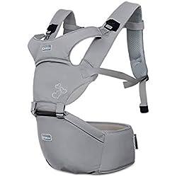 SONARIN Front Premium Hipseat Porte-bébé Baby Carrier,Multifonctionnel, Ergonomique,100% Coton, Boucle Rotative à Papillon, 6 positions de transport, Sûr et Confortable,cadeau idéal(Gris)