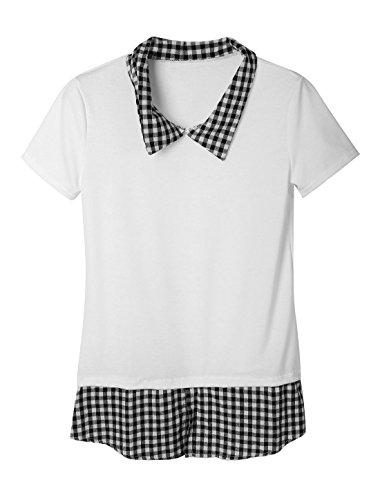 Lady Kragen Zum Umschlagen Plaids Aufdruck Kontrastfarbe Pullover Tunika Pullover Weiß