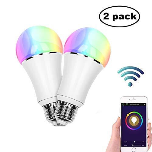 Smart Alexa Lampe,FEYG Zwei Pack Wi-Fi E27 LED Smart Glühbirne RGB Dimmbar Kompatibel Mit Amazon Alexa,steuerbar via App, Sbis zu 16 Millionen Farben,wählen Sie zuerst Smart Home …