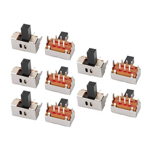 ZCHXD 10Pcs 2 Position 6P DPDT Panel Mount Micro Slide Switch Latching Power Switch -