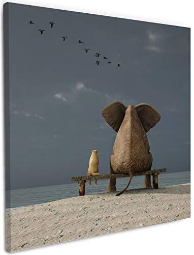 Wallario Leinwandbild Elefant und Hund sitzen auf Einer Bank - 50 x 50 cm: Brillante lichtechte Farben, hochauflösend, verzugsfrei