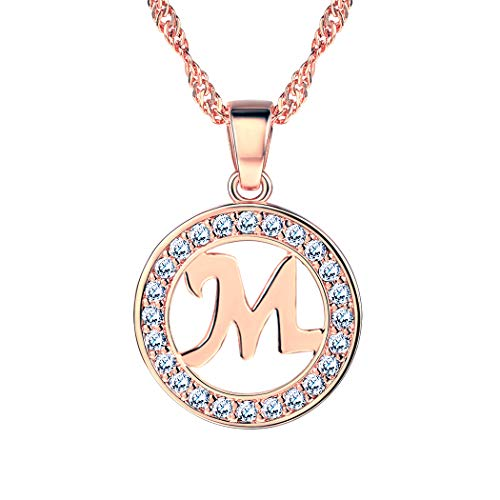 249dcae718153 Suplight Letter Necklace m Statement Jewelry Rose Gold Cubic Zirconia  Crystal Circle Name Alphabet Initial m Pendant Necklace for Women