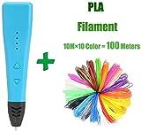 LEIXIN Smart Druckfeder 3D-Pens for Kinder 3D Stift DIY 3D-Zeichnungs-Feder for den Druck Doodling Art Craft Herstellung Trägermaterial ABS/PLA Filament (Farbe: Blau, Größe: Free)