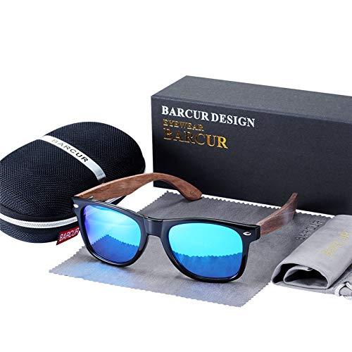 Schwarze Nussbaum Sonnenbrille Holz Polarisierte Sonnenbrille Herren Brille Herren UV400 Schutzbrille Holz Original Box (Frame Color : Polarized, Lenses Color : Sky Blue EVA)