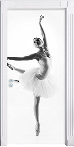 Ballerina estetico che Murale, Formato: 200x90cm, telaio della porta, adesivi porta, porta decorazione, autoadesivi del portello