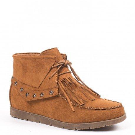 Ideal Shoes - Bottines à lacets effet daim avec avec franges et étoiles Carlina Camel