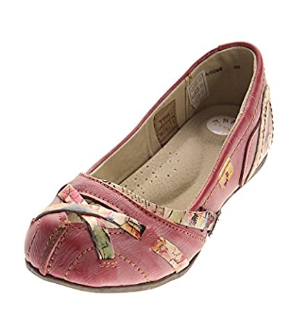 TMA Leder Damen Ballerinas Rot Echtleder Sandalen Comfort Schuhe TMA