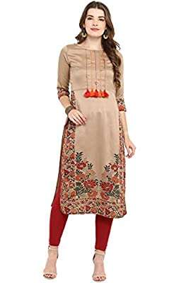 Janasya Women's Art Silk Straight Kurta