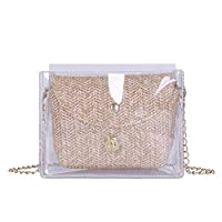 Betteros Clear PVC Handbag Waterproof Crossbody Handbags with Straw Bag Summer Fashion Beach Bag Womens Chain Tote Bag for Daily Use, Travel, Vacation