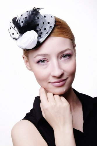 DRESS ME UP – Fascinator Miniatur Hut Mini Zylinder Silber/ Grau Damen Burlesque Feder Tüll Punkte (Kostüme Varieté Burlesque)