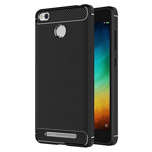 iVoler Hülle Kompatibel für Xiaomi Redmi 3 / 3S / 3S Pro / 3S Prime, Carbon Faser Case Tasche Schutzhülle mit Stoßdämpfung Soft Flex TPU Silikon Handyhülle - Schwarz