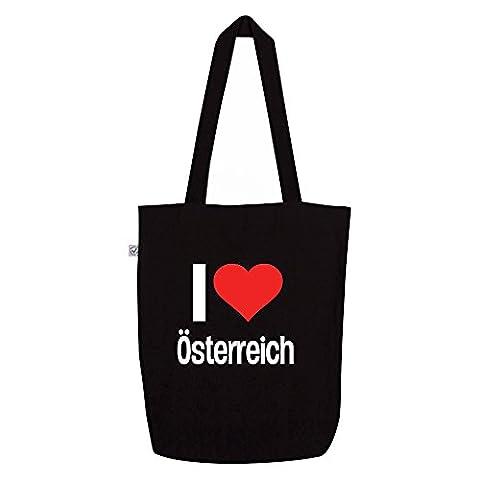 i love Österreich Motiv auf Umhängetasche, Jutebeutel, Tasche, stylisches Modeaccessoire, Unisex, viele Sprüche und (Zodiac Tasche)