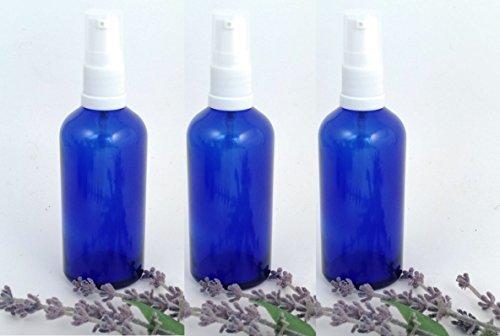 3 x 100ml Vetro Blu Aromaterapia Bottiglia con bianco Lozione/Siero Scarpe da ginnastica Adatto per corpo lozioni, per pulizia, sieri ecc.