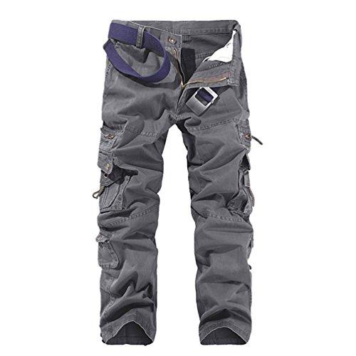 Zkoo lunghi pantaloni uomo cotone cargo sportivi pantaloni con multi tasche pantalone da lavoro carico pantaloni calzoni all'aperto casual grigio