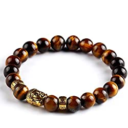 Jewels Galaxy Luxuria Edition Tiger Eye Stone & Golden Buddha Inspired Stunning Bracelet For Men/Women/Girls