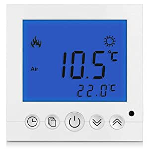 sm pc thermostat num rique thermostat de chauffage pour chauffage au sol led bleu a30 amazon. Black Bedroom Furniture Sets. Home Design Ideas
