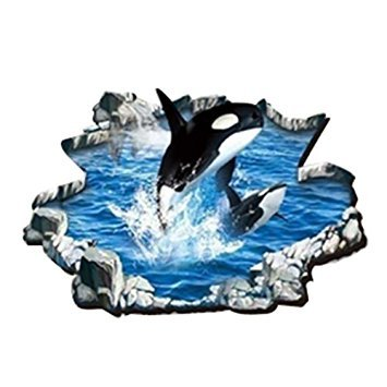 SODIAL(R) 3D Wall Floor Sticker Removable Whale Mural Decals Art Home Decor