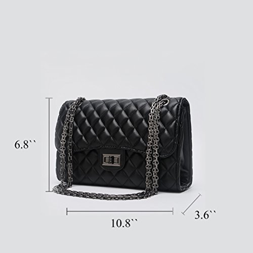 Honeymall Donna Borsa a Handbag spalla Borsa Tote Borsa a Mano di forma del diamante con catena di metallo nero Black Nero