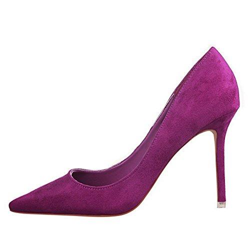AalarDom Femme à Talon Haut Pointu Tire Chaussures Légeres Violet-9CM