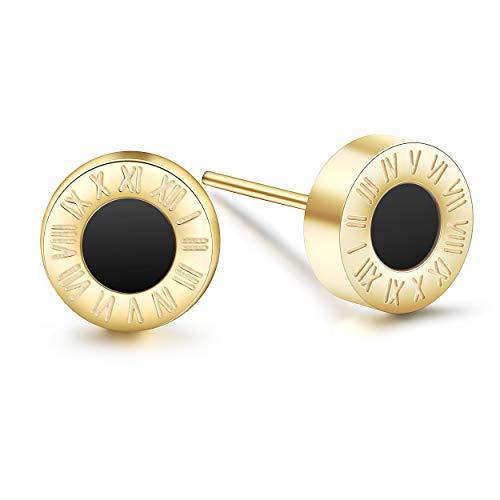 WISTIC Damen Ohrstecker Set Glitzer Ohrringe mit Kristall Muschel Ohrringe Rotgold Gold Schwarz Geschenk Nickelfrei