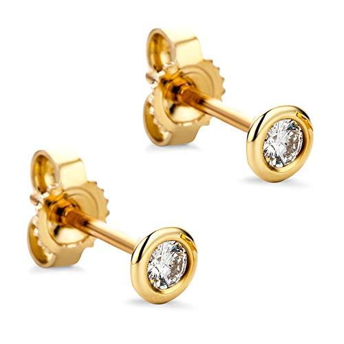 Orovi Damen Ohrringe mit Diamanten Gelbgold Solitär Ohrstecker 8 Karat (333) Gold und Diamant Brillanten 0.10 Ct