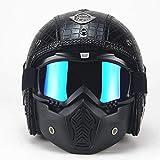 Casco de Motocicleta de Cara Abierta Vintage, Cuero Desmontable Four Seasons Universal 3/4 Autocycle Helmet + Scooter máscara para Hombre Mujer (M, L, XL),M