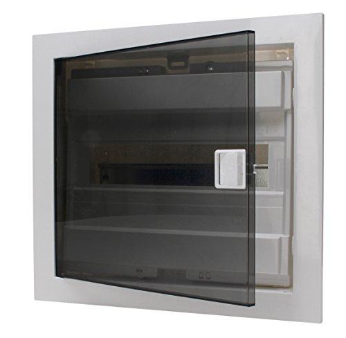 Kopp Unterputz-Verteilerkasten mit Plastiktür 1-reihig für 12 Pole, 1 Stück, Grau/Schwarz, 346001004