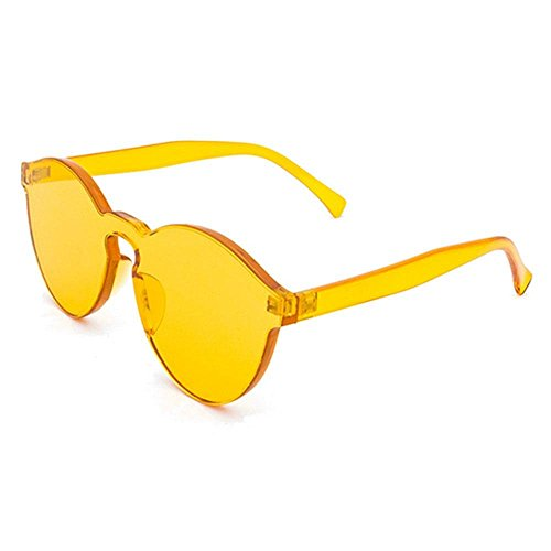 Insense Women Men Oversized One Piece Clear Lens Rimless Candy Color Tinted Sunglasses Tinted (Yellow)
