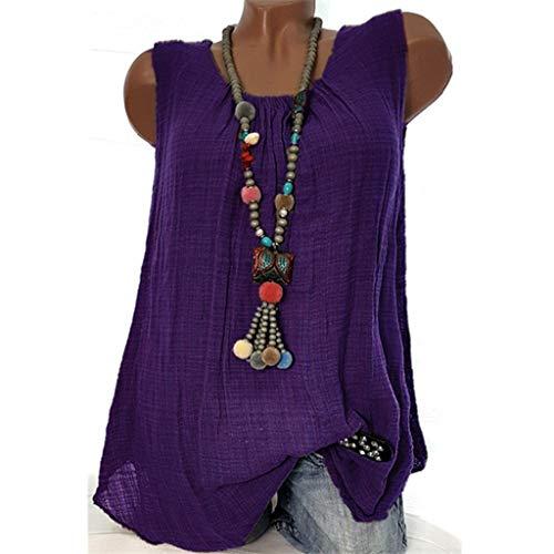 Oksea Leinen Damen Damen Baumwoll Leinen Tunika T-Shirt Oberseiten Leinenkleid Damen Sommer mit Spitze am Rücken ärmellos