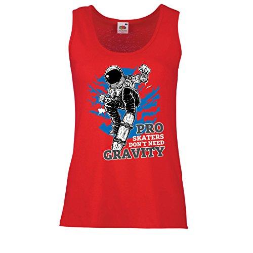 lepni.me Femme Débardeur sans Manche Pro Skaters Don't Need Gravity - Skateboard Sprüche, Skate Leben Zitate Rouge Multicolore