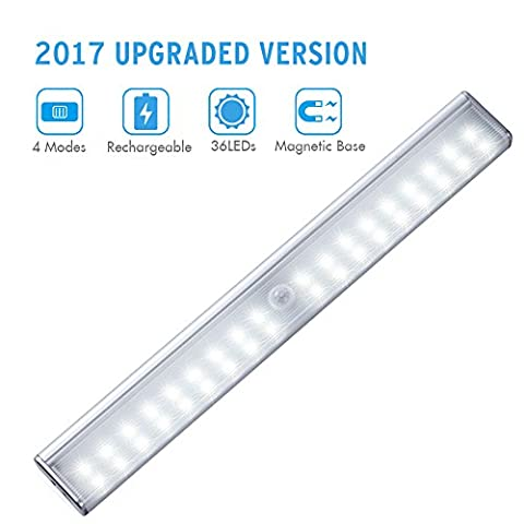 Wireless Motion Sensor Cabinet Light, Cynthia 36 LEDs Stick-on Motion Activated Closet Night Lighting Bar with 4 Light Modes, for Corridor Stairway Kitchen Wardrobe Drawer Under Counter Cupboard Shed Garage (White)