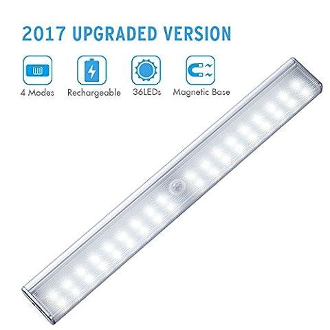 Kleiderschrankbeleuchtung 36 LED USB kabellose Schranklicht LED Nachtlicht mit PIR Bewegungsmelder Ideal für Badezimmer Kabinett Dachböden Garagen Treppe Schrank Weiß
