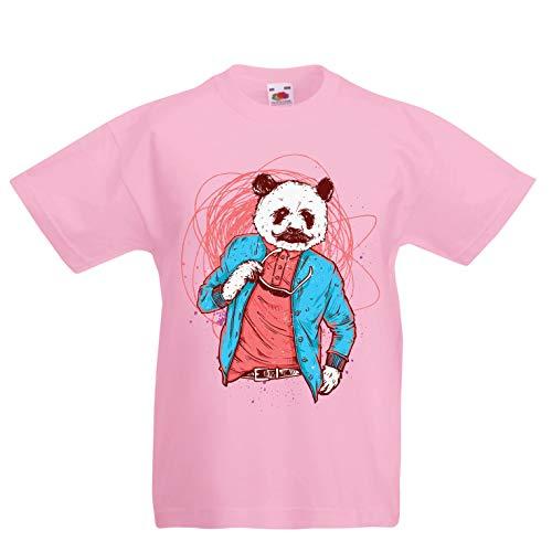 lepni.me Kinder Jungen/Mädchen T-Shirt Schicker Pandabär - Coole Grafik, Swag Mode (14-15 Years Pink Mehrfarben)