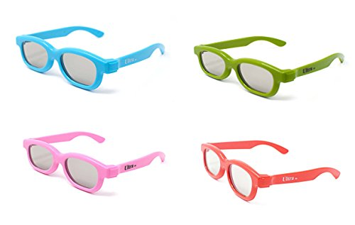 4 Pairs of Passive 3D Glasses for Children 1 Blue 1 Green and 1 Pink and 1 Red mixed pack Polorized for Universal for Use with all Passive TVs Cinema and Projectors