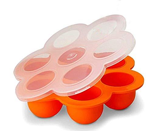 Eisform 2er-Pack Silikon-Eierstichform, passend for Schnellkochtopf, Gefriertablett, wiederverwendbarer Vorratsbehälter mit Clipon-Deckel, for hausgemachte Lebensmittel, Gemüse-Fruchtpürees, Eiswürfel