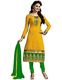 Kabeer Creation Women's Chanderi Cotton Embroidered Unstitched Salwar Suit with Dupatta Material, Free Size(Yellow, KCNFM107)
