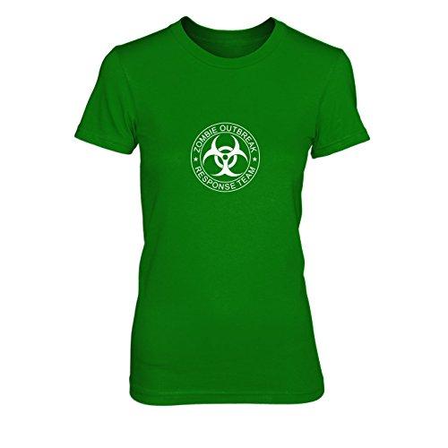 Days 28 Zombie Later Kostüm - Zombie Outbreak Response Team - Damen T-Shirt, Größe: L, Farbe: grün