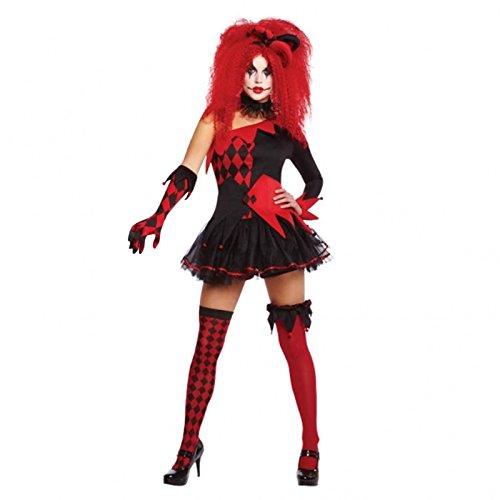 Damen jesterina Damenkostüm Trickster Party Outfit - Schwarz/Rot, S - - Jesterina Kostüm