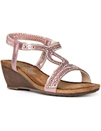 12a7be511d2c Lilley Womens Pink Diamante Wedge Sandal