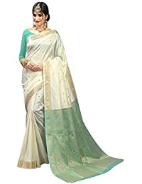 Craftsvilla Women's Silk Traditional Buti With Zari Border Work Off White Saree With Blouse Piece (Sea Green)