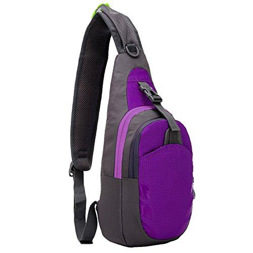 Galopar Sling Bag Cassa Spalla Squilibrio zaino antigraffio pacchetto della spalla impermeabile cross-corpo per la palestra in bicicletta da corsa facendo un'escursione scalata di viaggio di campeggio Purple