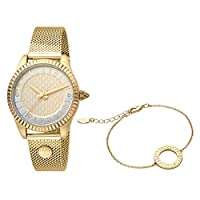 Just Cavalli Women's Yellow Gold Dial Stainless Steel Analog Watch & Bracelet Set - JC1L133M0065
