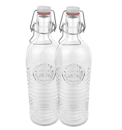 Bormioli 2er Set Glasflasche Officina 1825 - geriffelte 1,2 Liter Flasche mit Bügelverschluss und Relief Verzierung -