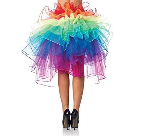 UTOVME Regenbogen Multicoloure Tute Roeckchen Ballett-Tanz-Rueschen Layered Tiered Kleid ()