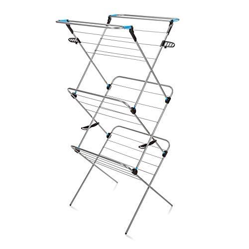 Minky Verso 3 Stufen ausklappbarer Wäscheständer - Silber