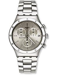 Swatch Classic Potential Power YCS570G - Reloj cronógrafo de cuarzo para mujer, correa de acero inoxidable color plateado (cronómetro)